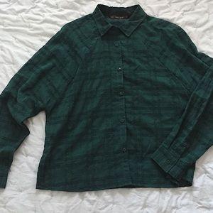 ZARA Monochrome Emerald Oversized Blouse